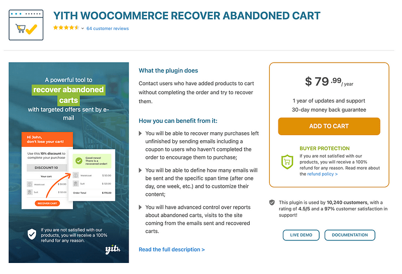 YITH Recover Abandoned Cart plugin
