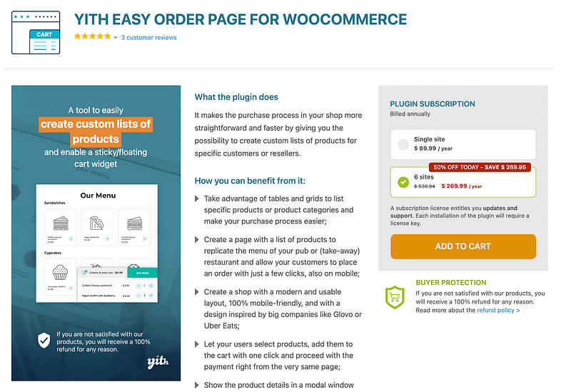 YITH Easy Order Page