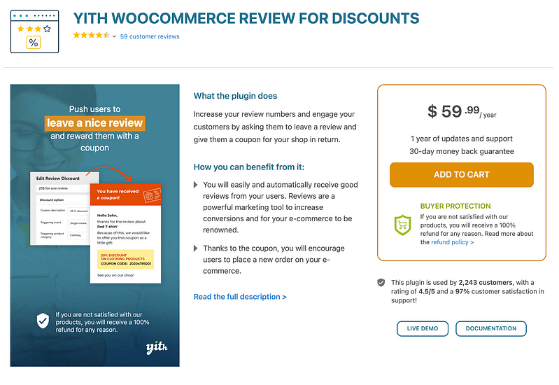 YITH WooCommerce Review for Discount