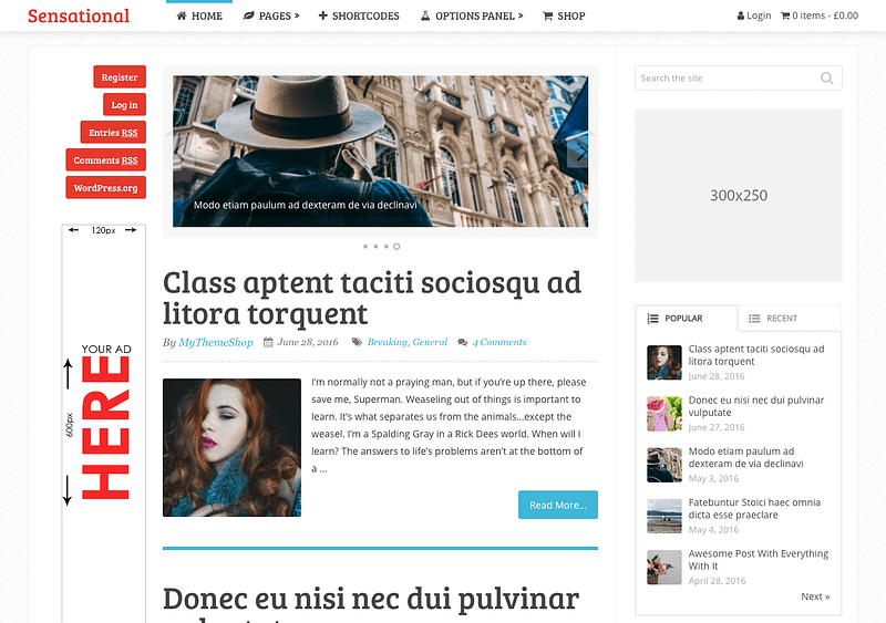 Sensational WordPress blog theme