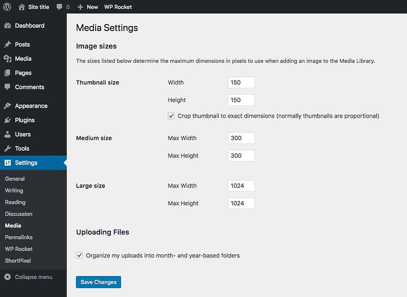 Media settings menu