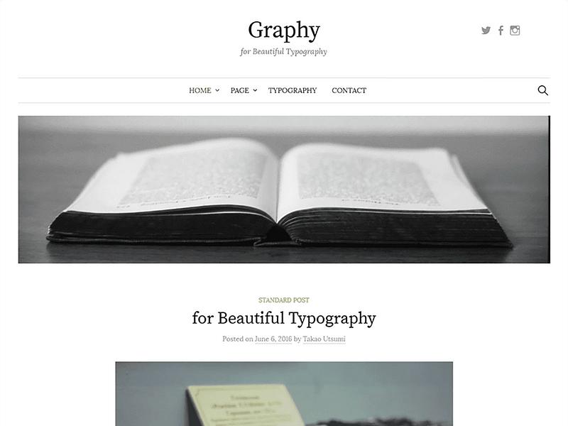 screenshot of the Graphy theme