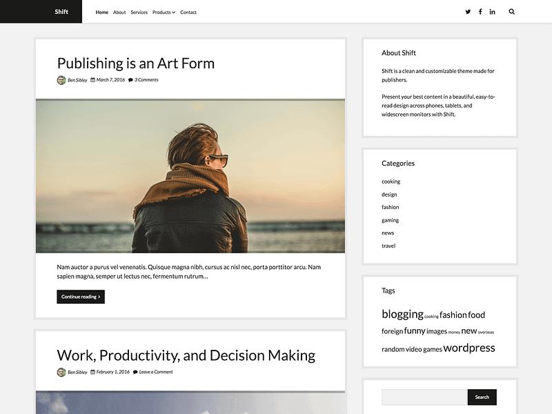 Shift WordPress theme