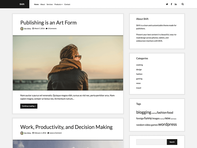 Shift WordPress theme