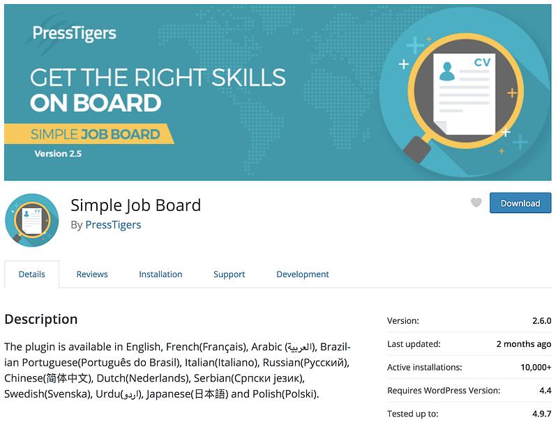 Simple Job Board plugin