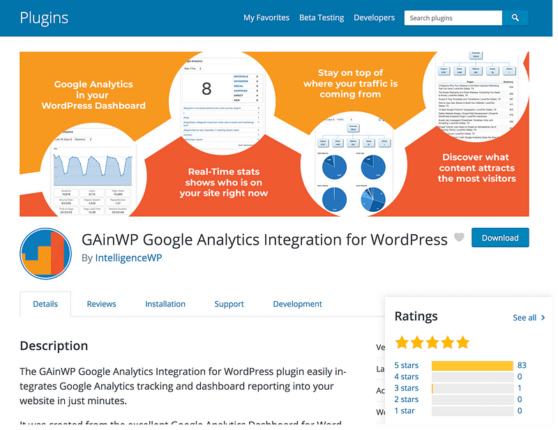 GainWP Google Analytics
