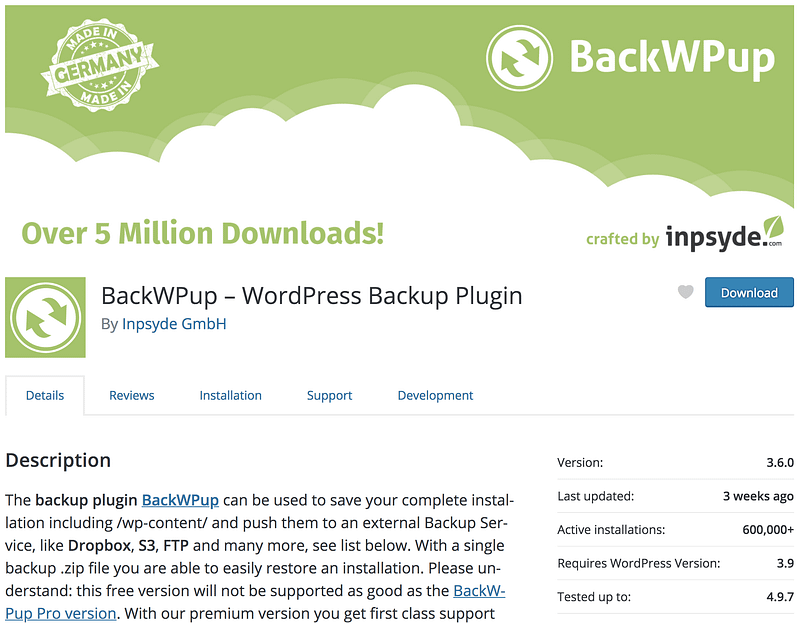 BackWPup WP plugin