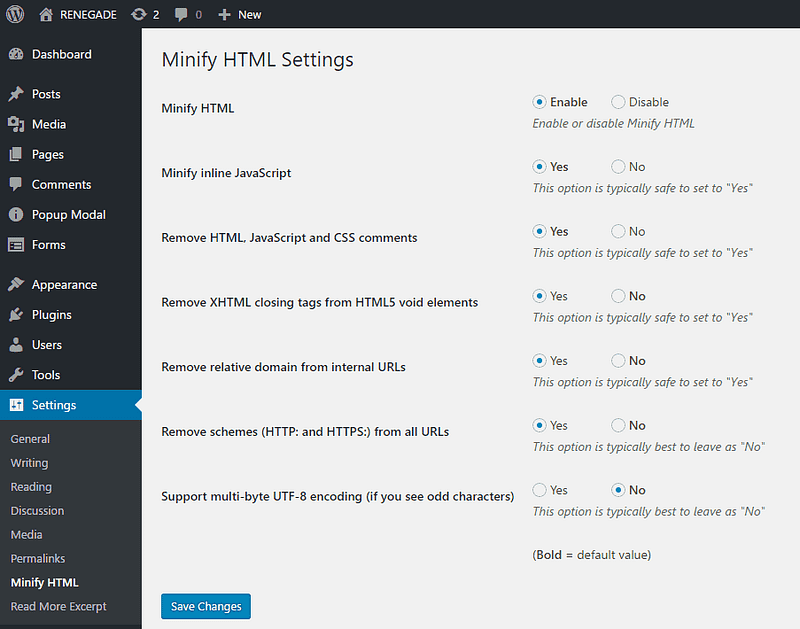 Minify HTML Settings
