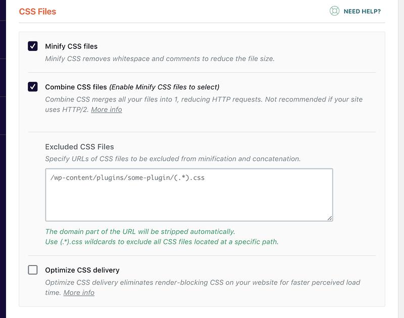 WP Rocket's CSS file optimization settings