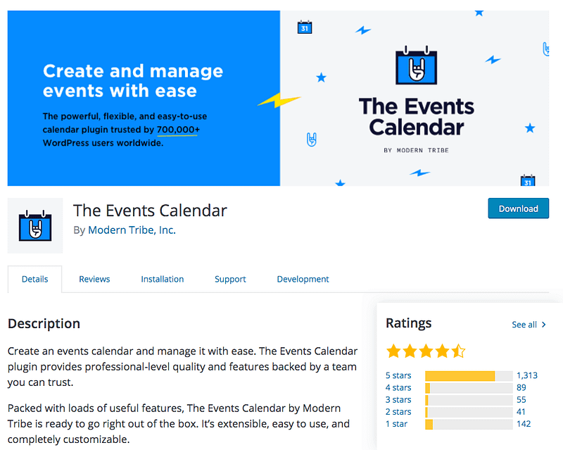 The Events Calendar event management plugin
