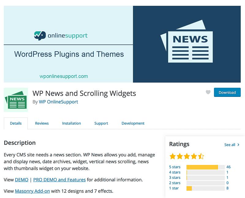 WP News Scrolling Widgets