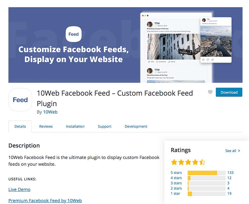 10Web Facebook Feed