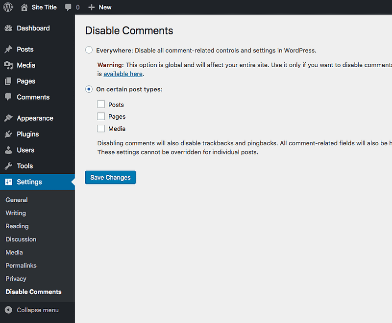 Disable Comments Settings