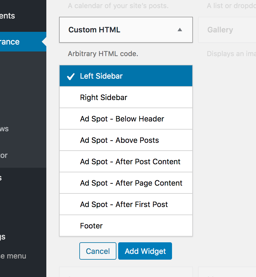 Widget Areas Available