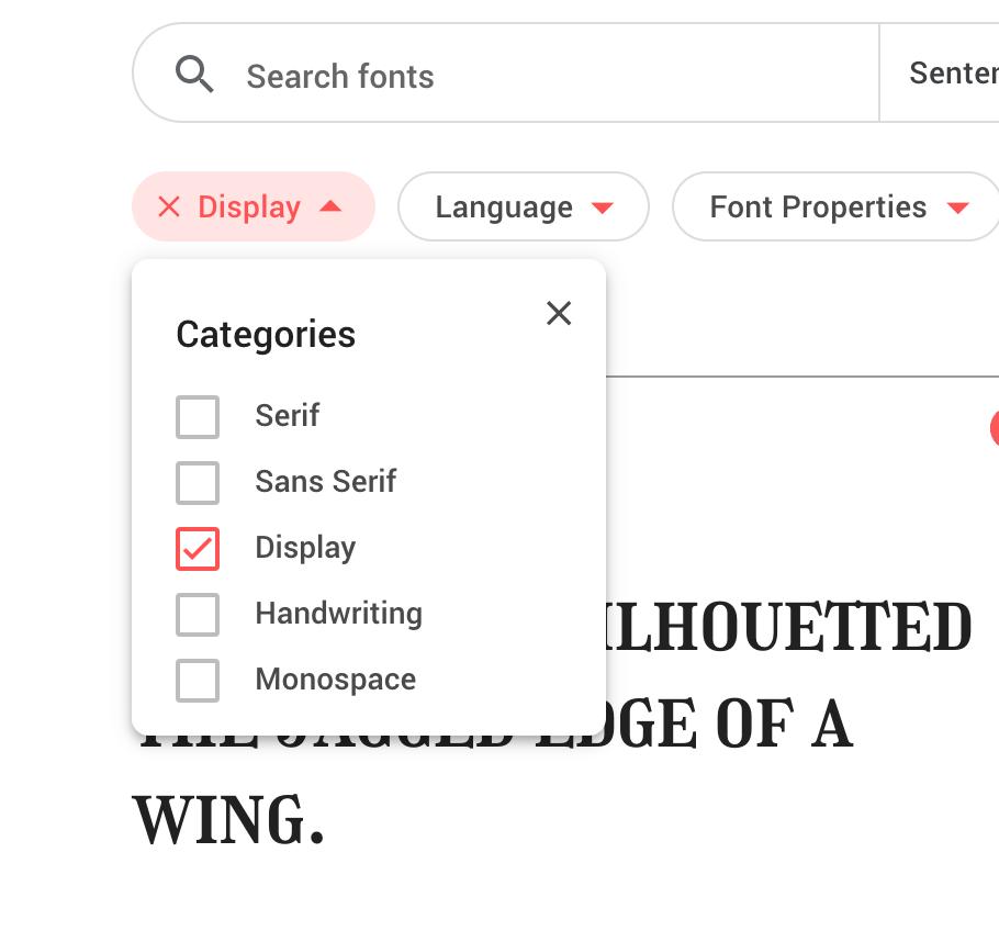 Display Fonts Selected