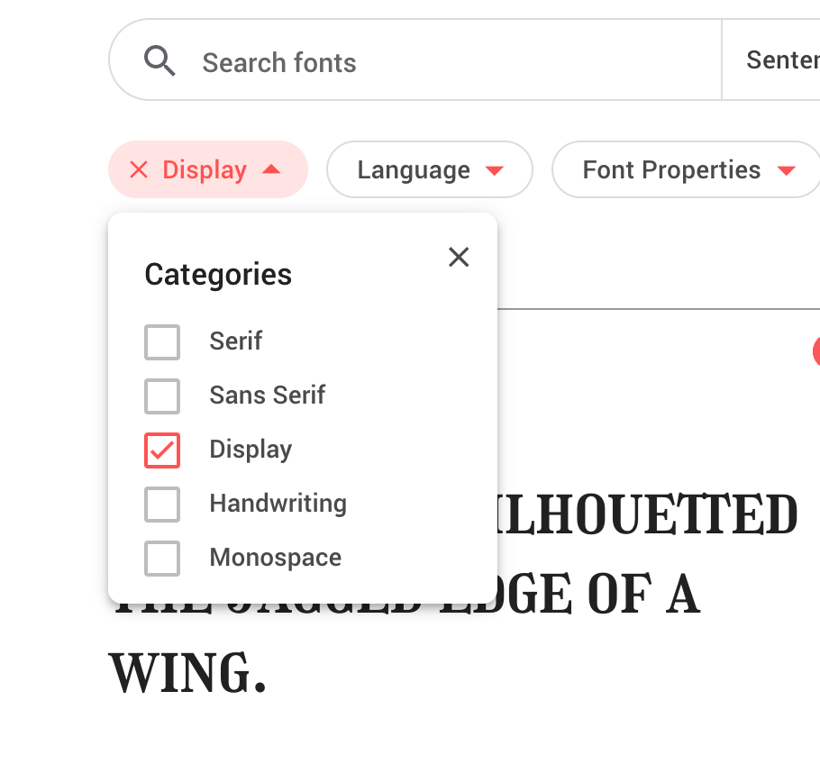 Display Fonts Selected