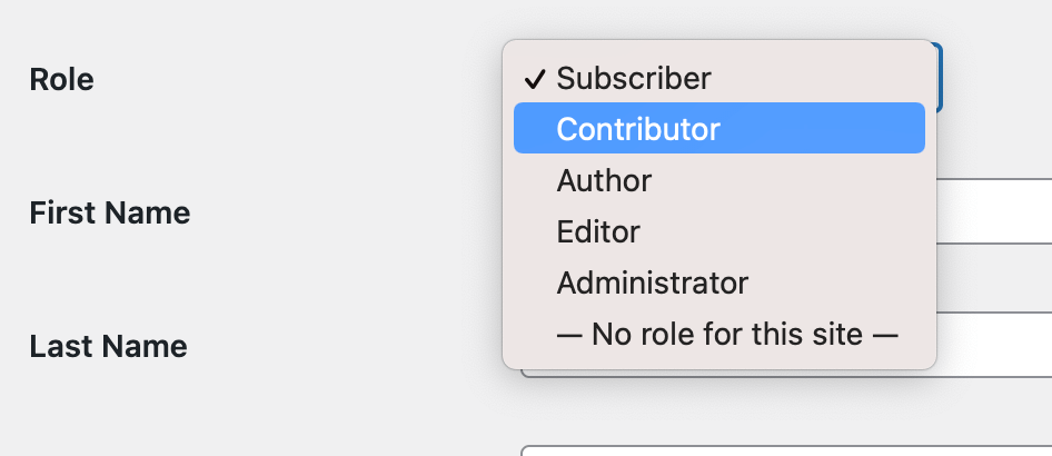 Select Contributor Role