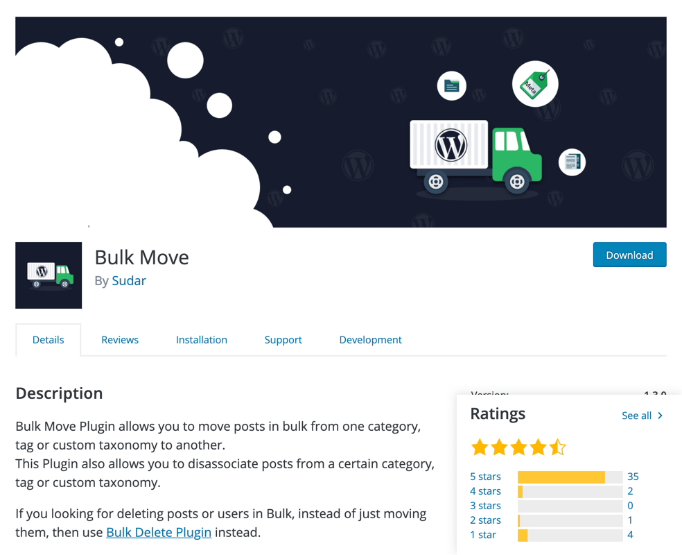 Bulk Move Posts Plugin