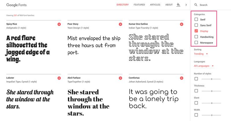 Choose Display Font Google Fonts