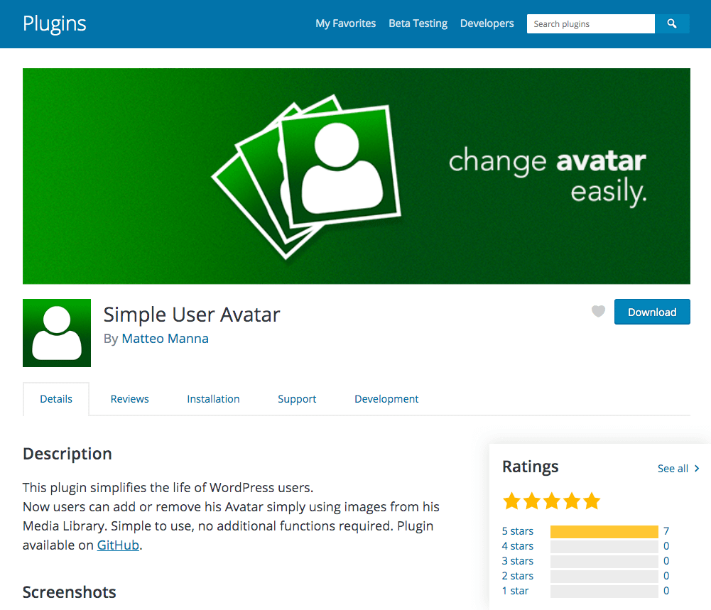 Simple User Avatar