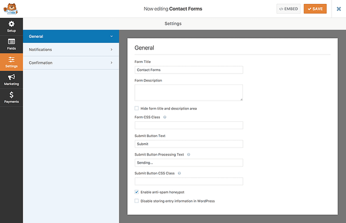 General settings tab in WPForms