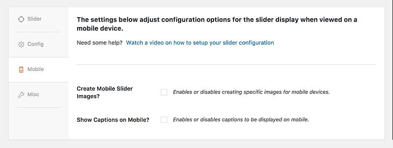 Mobile settings