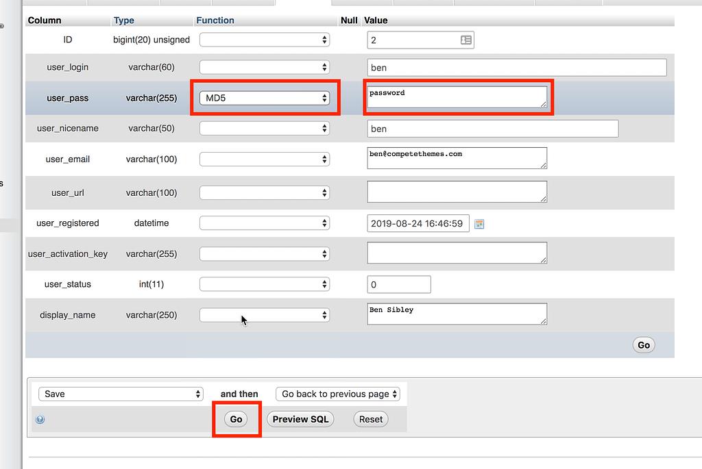 Change Password Database
