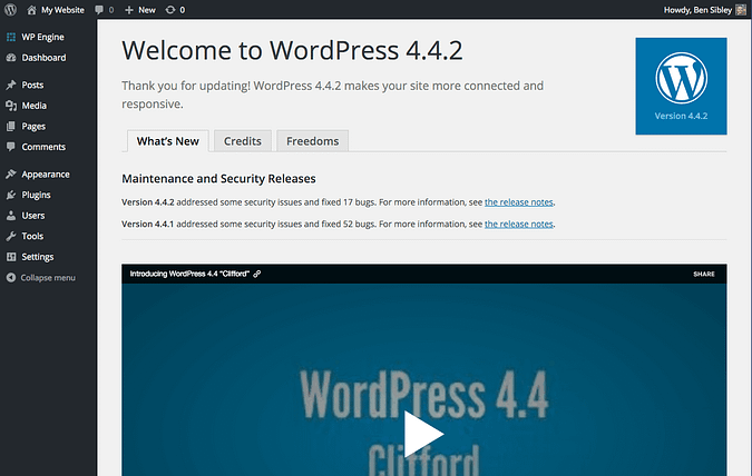 the welcome to WordPress page