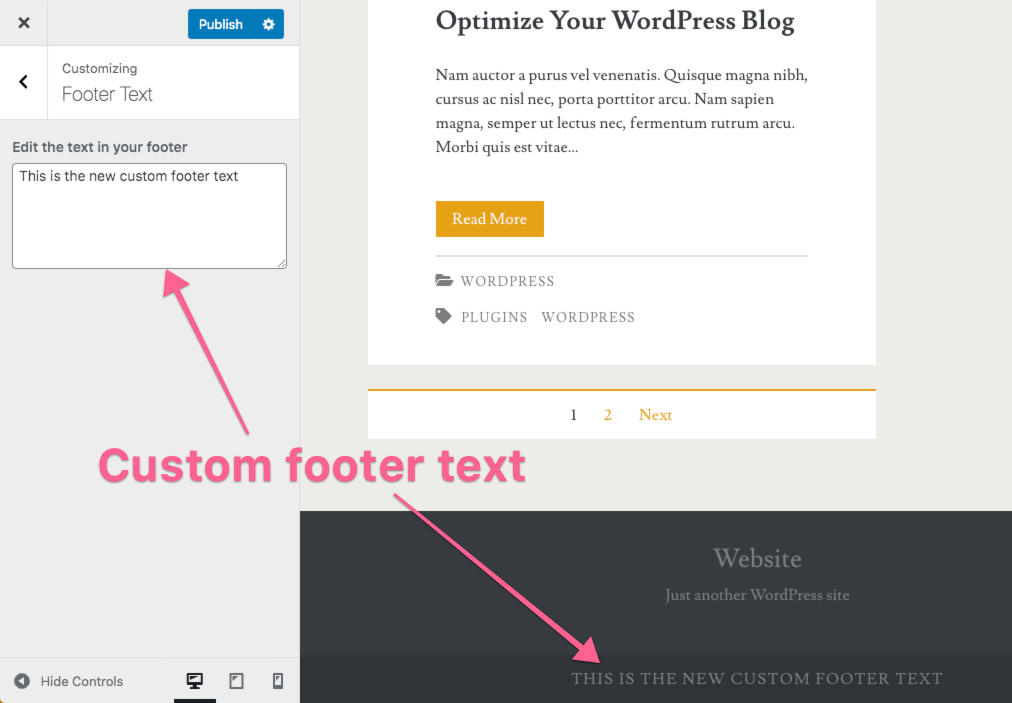 Custom Footer Text