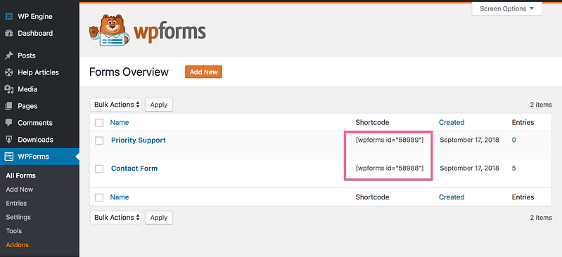 WP Forms Shortcodes