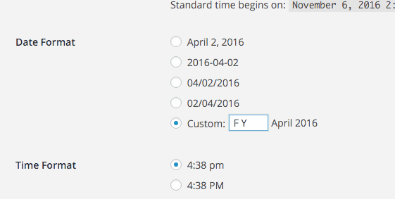 entering a custom date format
