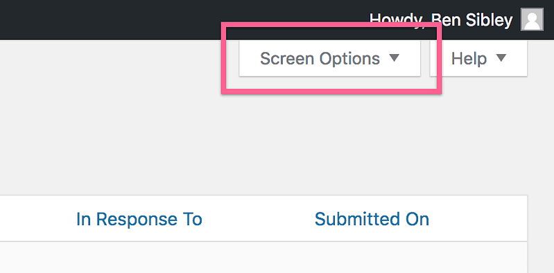 Screen Options Tab Comments