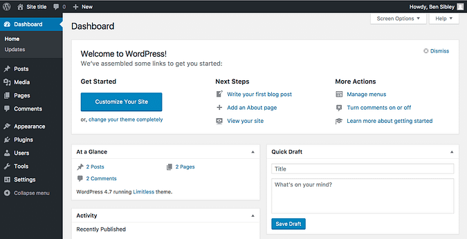 Screenshot of the WordPress admin dashboard