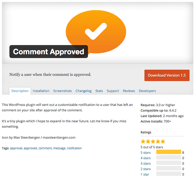 the Comment Approved plugin on wordpress.org