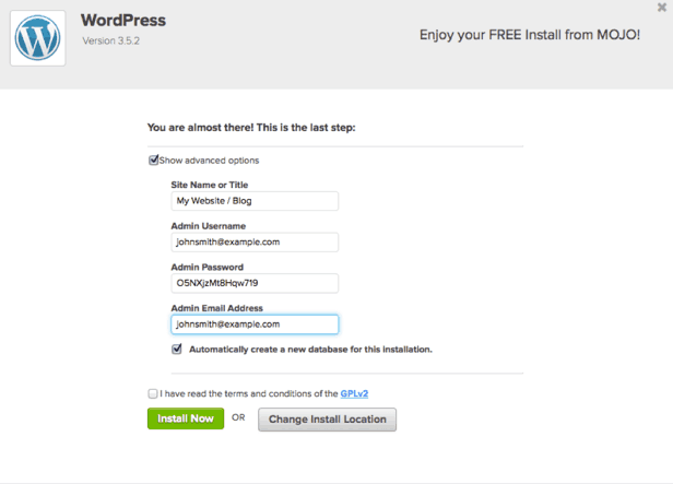 Screenshot of Bluehost's WordPress auto-installer