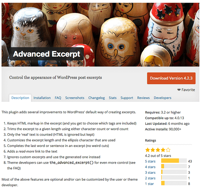 screenshot of the Advanced Excerpt plugin page on wordpress.org