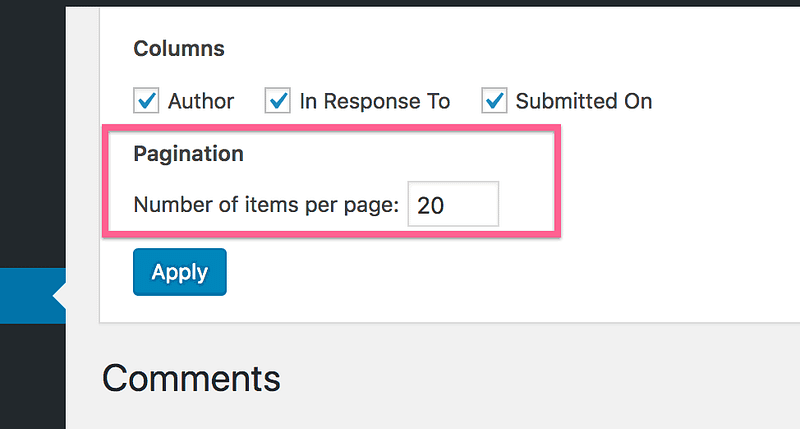 Comment Pagination Setting