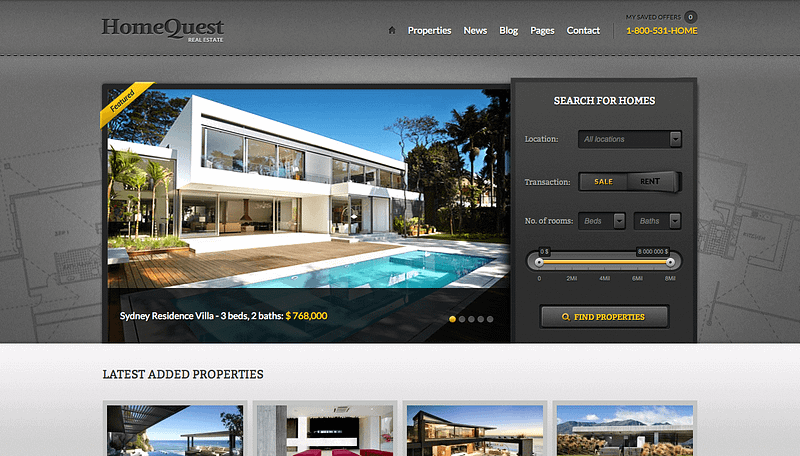 Home Quest theme for real estate