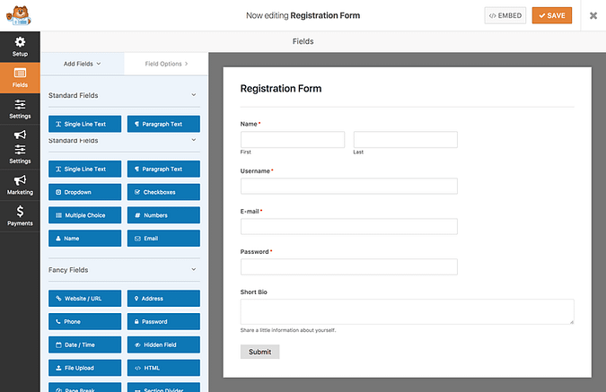 Screenshot of the default registration form