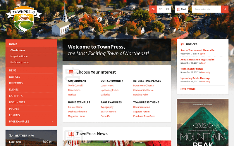 TownPress local government theme