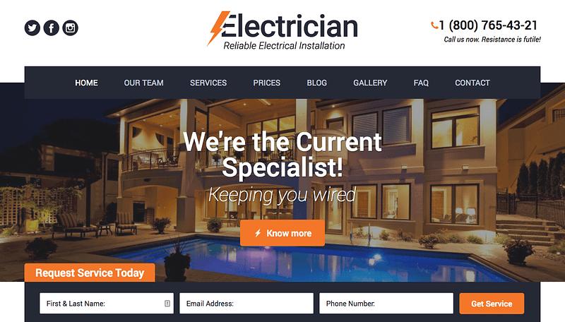 Electrician WordPress Theme