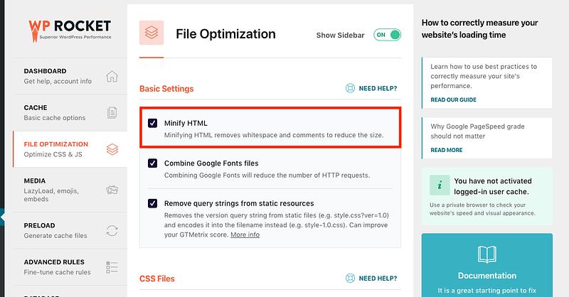 WP Rocket Minify HTML