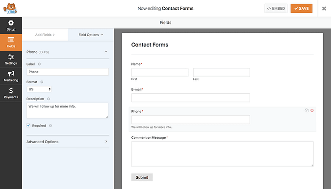 WPForms field options