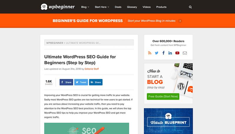 WPBeginner WordPress SEO tutorial