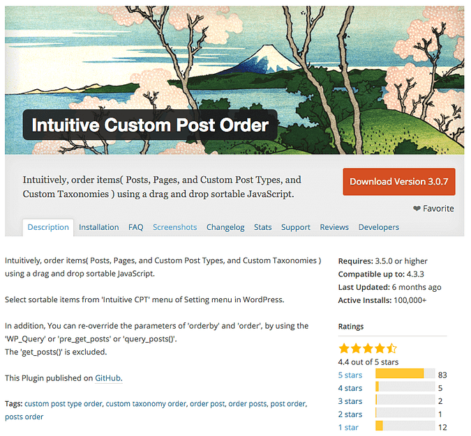 the Intuitive Custom Post Order on wordpress.org