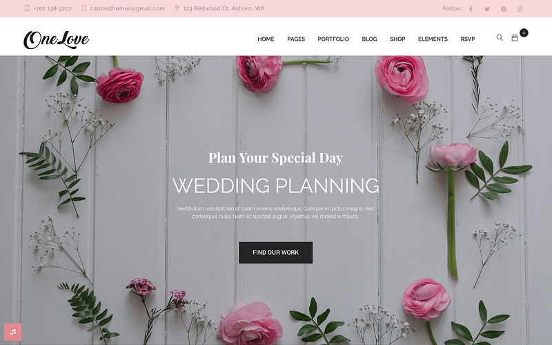 OneLove wedding planning theme