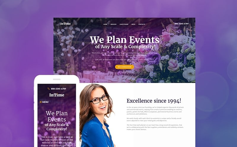 InTime events management theme