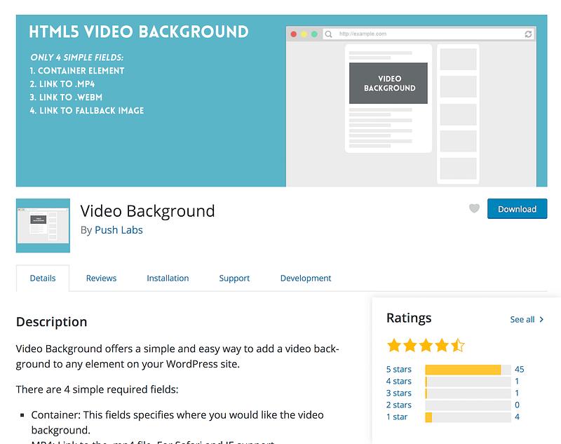 Video Background plugin