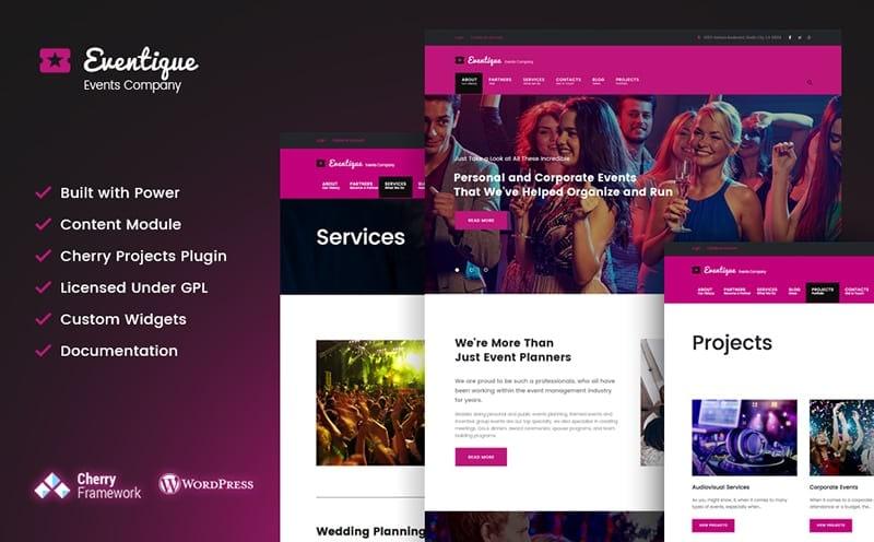 Eventique events company WordPress theme