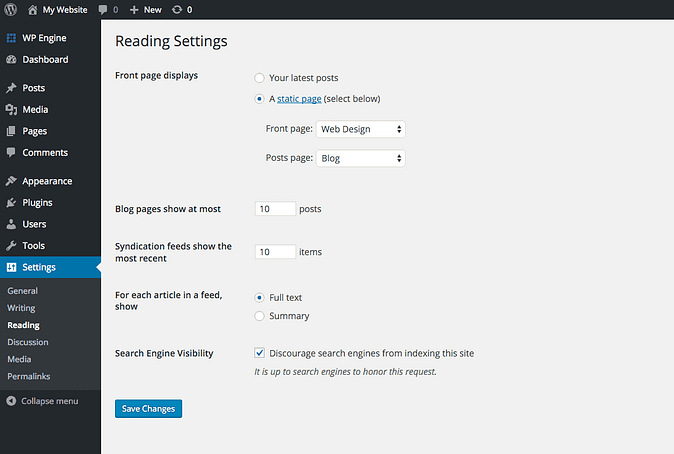 a configured example of WordPress' front page setting